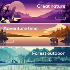 Design illustration for web design development. Landscape with a