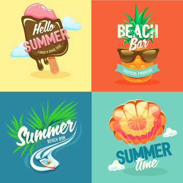 Set labels summer vacation and travel