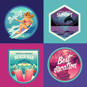 Tropical paradise set labels and badges