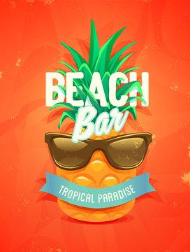 Vector poster pineapple in glasses
