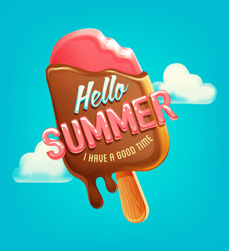 Summer vector poster, label with ice cream in sky