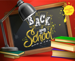 School board with lamp and books. Vector illustration welcome to