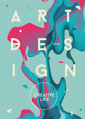 Colorful abstract poster. Liquid ink. Modern style trends. Backg