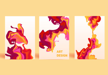 Isolated colorful abstract liquid ink. Modern style trends. Back
