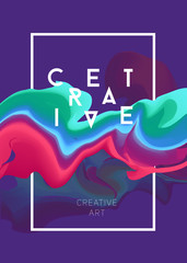 Color vector poster. Bright  abstract ink for a different design