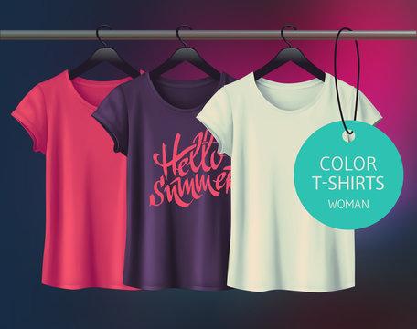 Color vector woman's t-shirt design template.