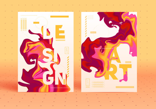 Posters with colorful abstract liquid ink. Modern style trends.