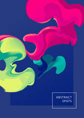 Abstract spots. Liquid ink. Modern style trends. Background for