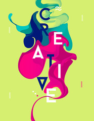 Poster with abstract spots. Liquid ink. Modern style trends. Bac