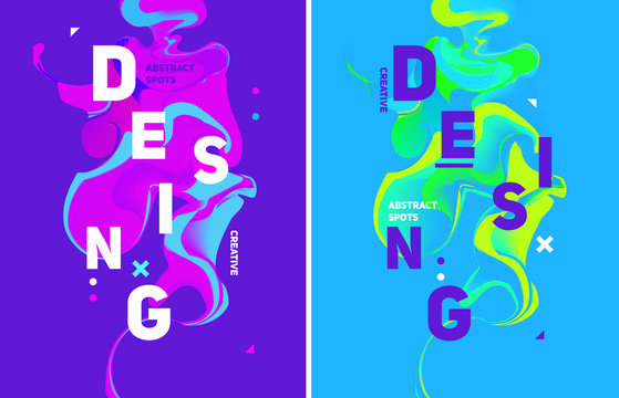 Two colorful abstract poster. Liquid ink. Modern style trends. B