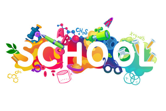 School background in white. Colorful poster with an inscription