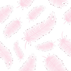 Seamless background with pink bird feather suitable for wallpaper, postcard, and scrap paper
