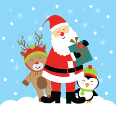 Christmas illustration with cute deer, penguin, and Santa Claus suitable for Xmas greeting card, postcard, and wallpaper