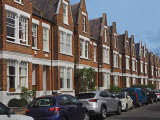 Typical English suburban street with semi-detached houses