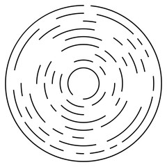 Random concentric segmented circles. Circular geometric element.