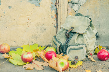 Backpack with apples on the threshold