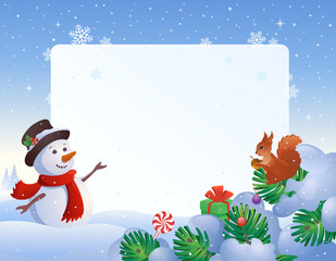 Snowman and squirrel frame