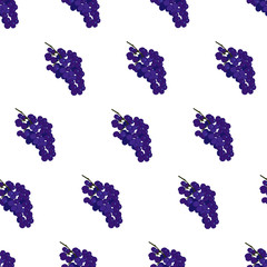Purple burgundy and blue grape seamless vector pattern on white background
