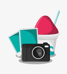 Camera pictures and ice cream icon. travel trip vacation and tourism theme. Colorful design. Vector illustration