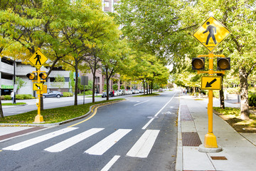 pedestrian crossing in the city. traffic sign and traffic lights on zebra crossing
