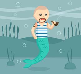 sailor mermaid man vector illustration design
