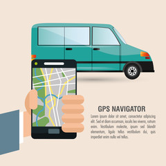 Car vehicle and smartphone icon. transportation travel and trip theme. Colorful design. Vector illustration