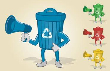 Recycle Bin Holding Megaphone
