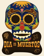 "Traditional Skull with Floral Design for ""Dia de Muertos"" Celebration, Vector Illustration"