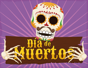 "Funny Skeleton Holding a Wooden Greeting for ""Dia de Muertos"", Vector Illustration"