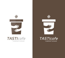 Vector coffee cup and hands logo combination. Cafe and embrace symbol or icon. Unique restaurant and coffeehouse logotype design template.