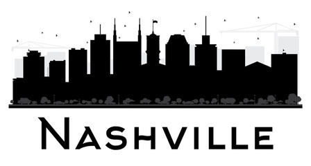 Nashville City skyline black and white silhouette.