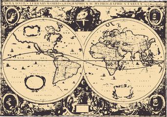 Early world map / Hendrik Hondius(1630) [vector]
