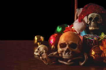 Skull with gifts for the festival.