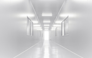 modern science lab room opened door with lighting form outside