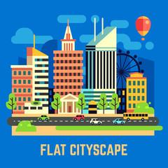 Flat city, urban landscape vector illustration