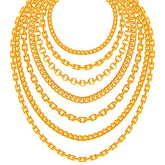 Golden metallic chain necklaces vector set