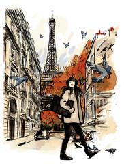 In de dag Art Studio Paris in autumn time near Eiffel Tower