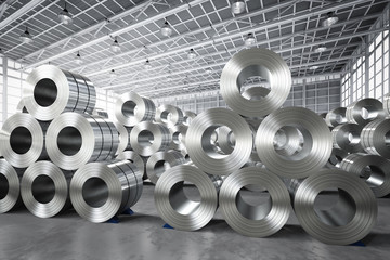 roll of steel sheet in factory