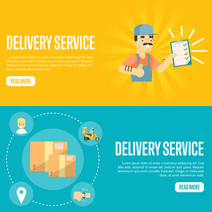 Smiling delivery man in uniform with clipboard on yellow background. Closed cardboard boxes on blue background. Delivery service website templates, vector illustration. Professional courier concept.
