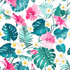 Seamless tropical flowers and jungle palms. Beautiful fabric pattern with a tropical flowers isolated over white background. Blossom plumeria for seamless pattern background.