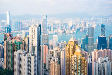 Skyscraper view from the Peak Tower, landmark of Hong Kong