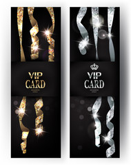 VIP cards with long hanging shiny serpentine on the background