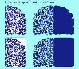 2 variants laser cutting template with pattern of roses for greeting cards valentines