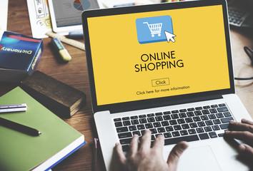 Wall Mural - Online Shopping E-business Digital Technology Concept