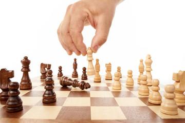 Schachspiel mit Hand