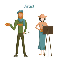 Isolated professional artists on white background. Male and Female artists with paint brush, easel and palette.