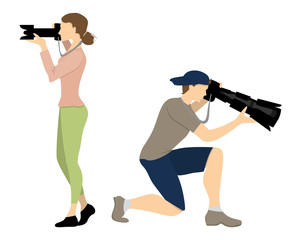 Isolated professional photographers on white background. male and female with equipment as studio camera.