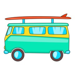 Bus with surfboard icon. Cartoon illustration of bus vector icon for web design