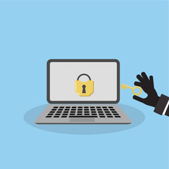 Concept of hacking. Isolated laptop with lock on the screen and a hand of the robber with a key.
