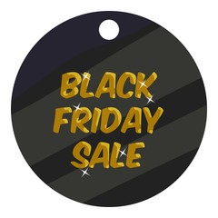 Round tag black friday sale icon. Cartoon illustration of round tag black friday sale vector icon for web